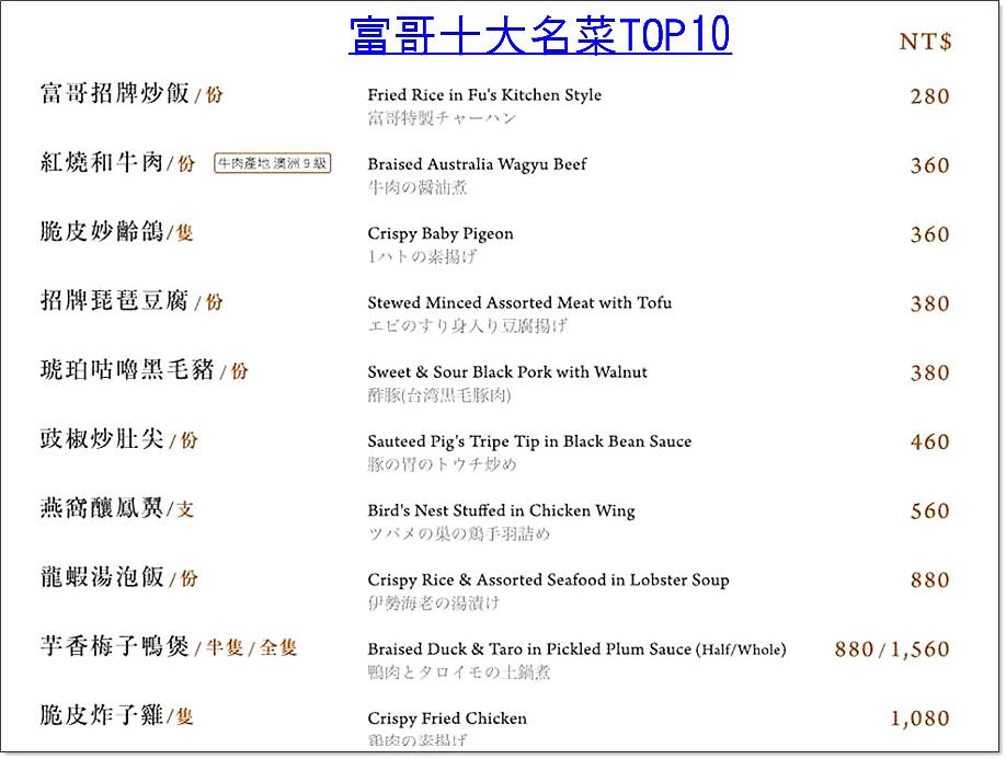 台南名人坊菜單富哥十大名菜