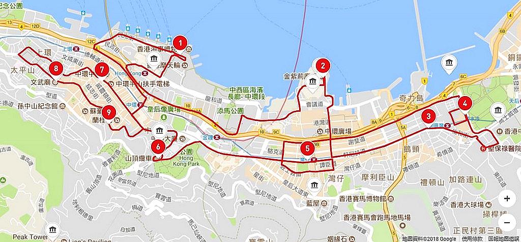 香港觀光巴士紅線路線圖