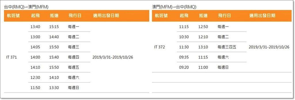 虎航台中澳門時刻表