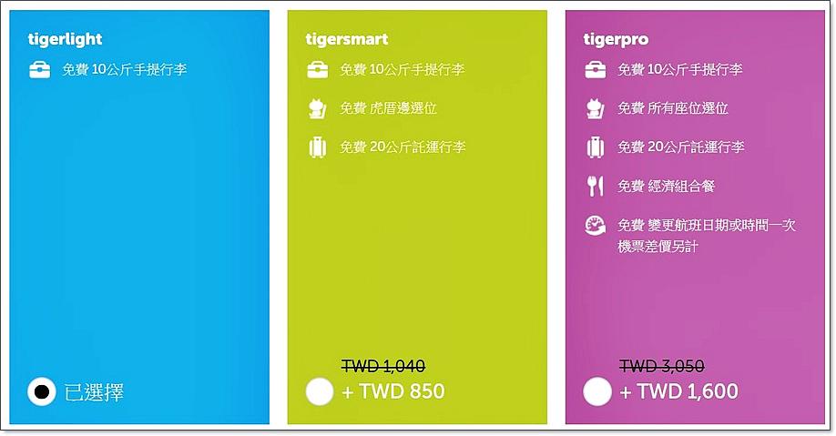 台灣虎航行李價格