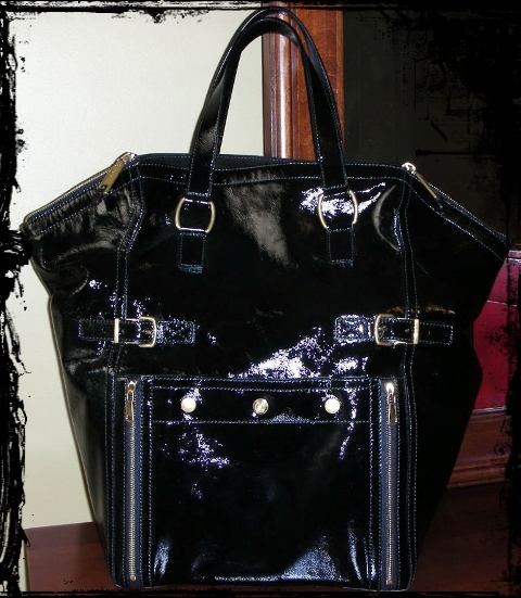 LARGE Black Patent Yves Saint Laurent Downtown.JPG