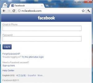 手機web版的facebook