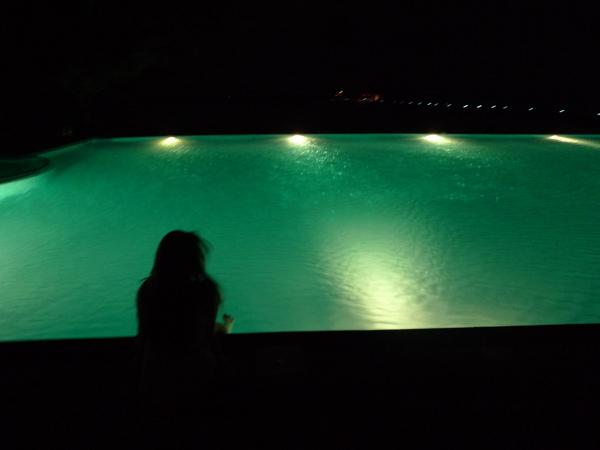 有一晚我坐在游泳池旁