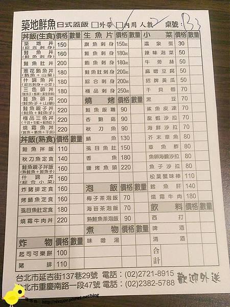 台北-台北車站-築地鮮魚-平價日式生魚片-魚肉吃到飽-菜單