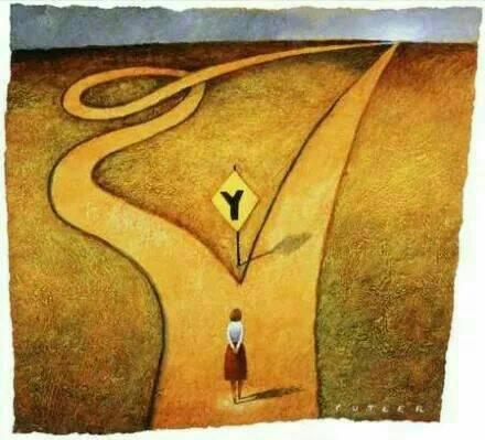 直線與彎曲的路