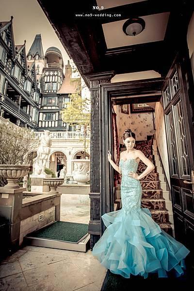 人魚新娘摯愛款-晶鑽湖水藍曲線蓬裙晚禮服