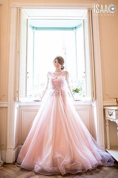 NO.9浪漫透紗粉色ALINE禮服