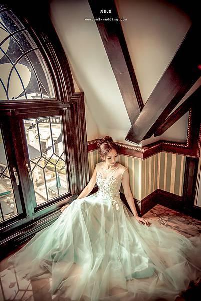 NO.9獨家-薄荷綠蕾絲婚紗禮服