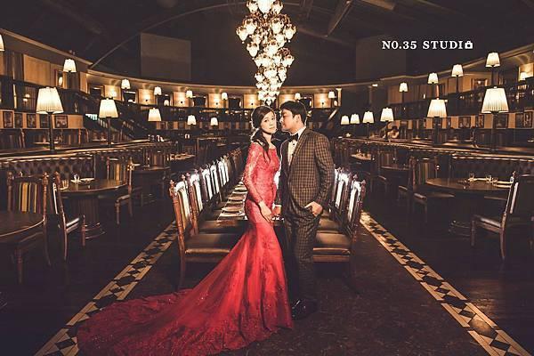 推薦訂婚禮服- 一字領魚尾紅禮服