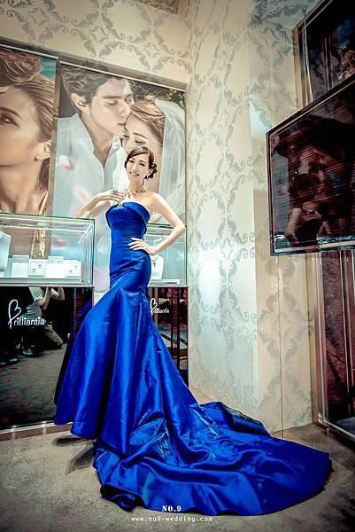 NO.9名模款-柔緞藍紫魚尾晚禮服