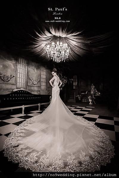 美背晶鑽魚尾婚紗