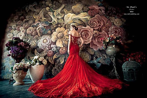 自助婚紗-台北婚紗推薦-紅色宴客禮服
