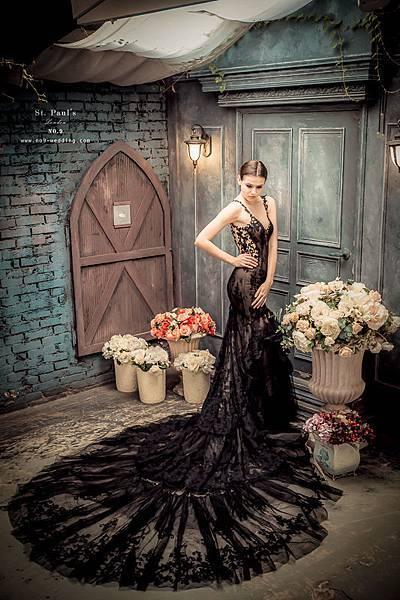 第九大道英式手工婚紗-黑色魚尾禮服