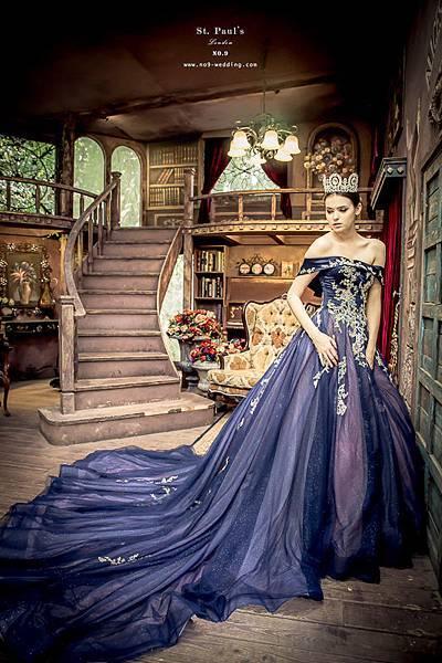 NO.9獨家新款-高貴一字領藍色禮服
