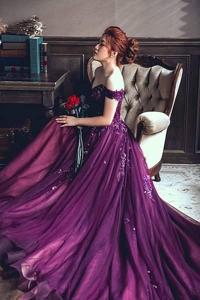 NO.9婚紗攝影-深紫唯美手工禮服
