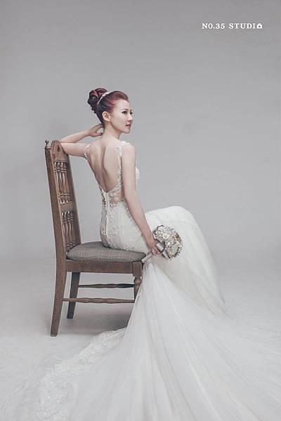 NO.9婚紗攝影-典雅美背蕾絲手工白紗