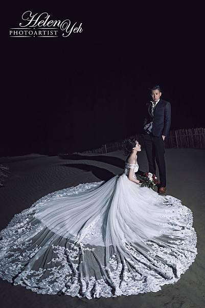NO.9婚紗攝影-一字領手工珠鑽蕾絲白紗