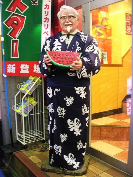京都的肯德基爺爺 抱著西瓜賣炸雞