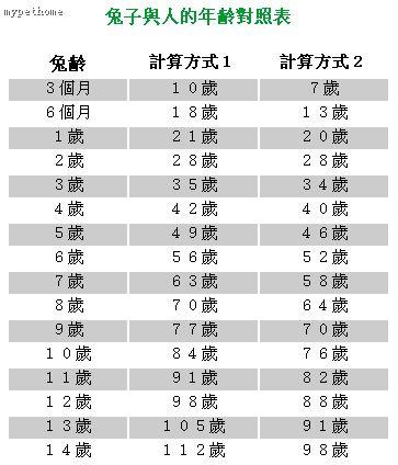 兔子和人的年齡對照表