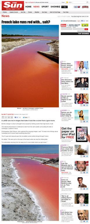 末日災難異象?法國湖水變紅。(圖/太陽報)