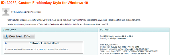 ID: 30258 XE8 的FireMonkey 支援『 Windows 10』樣式資料