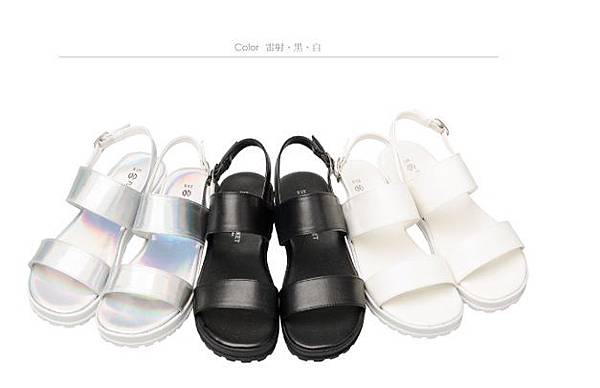 鏤空厚底涼鞋