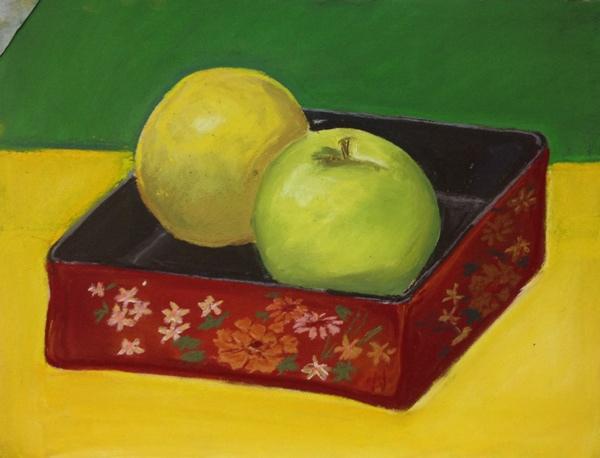 粉彩-水果與彩盒