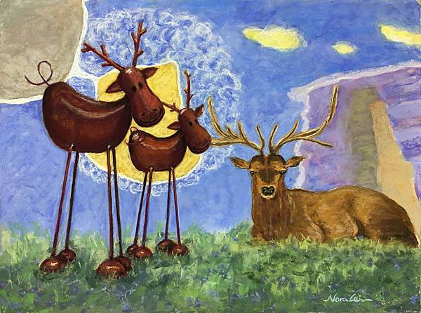粉彩~三隻麋鹿