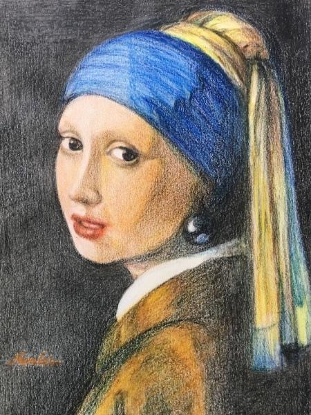 名畫臨摹_戴珍珠耳環的少女_色鉛筆