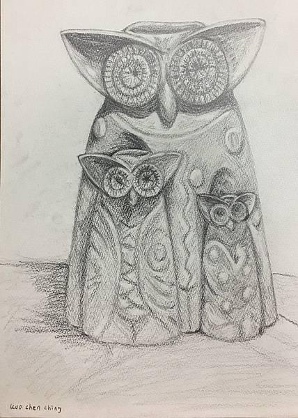 鉛筆素描~貓頭鷹與天使-3