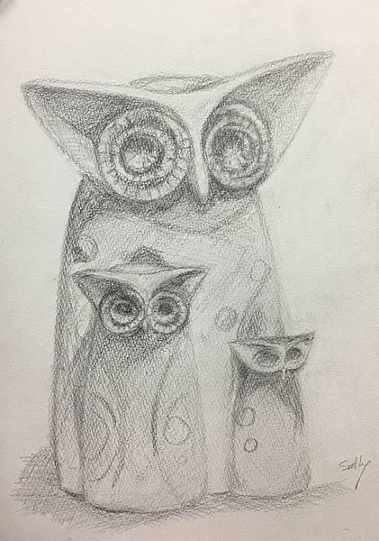 鉛筆素描~貓頭鷹與天使-4