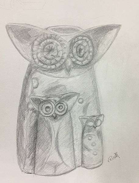 鉛筆素描~貓頭鷹與天使-5