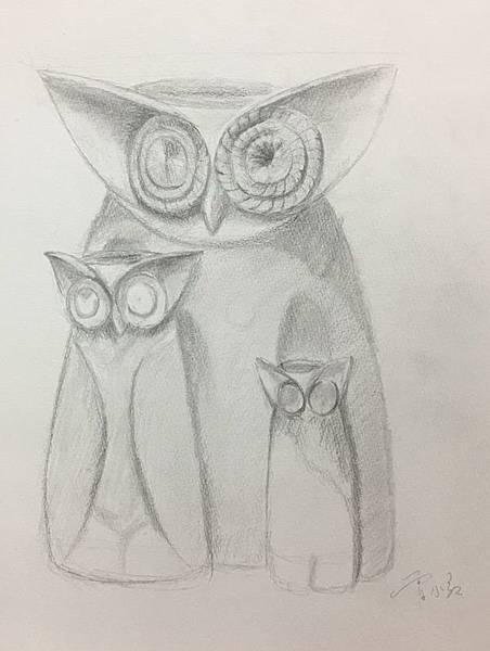 鉛筆素描~貓頭鷹與天使-6