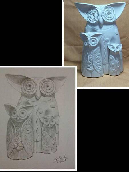 鉛筆素描~貓頭鷹與天使-12