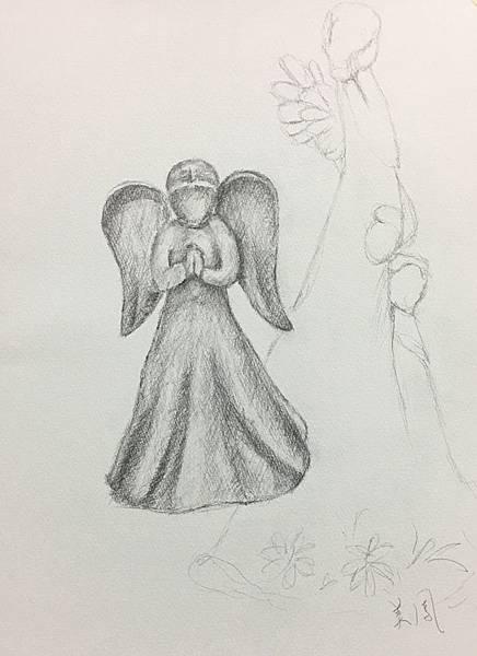 鉛筆素描~貓頭鷹與天使-11