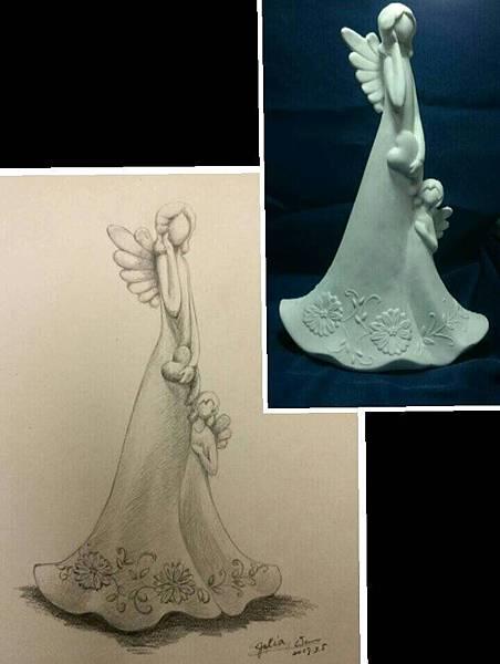 鉛筆素描~貓頭鷹與天使-13