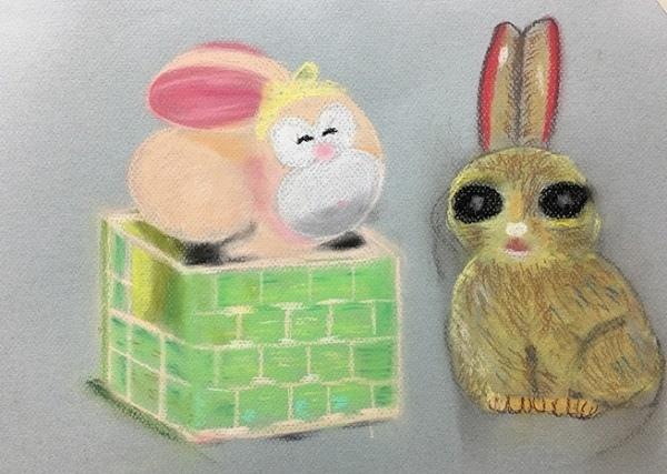 粉彩-情境小兔-10