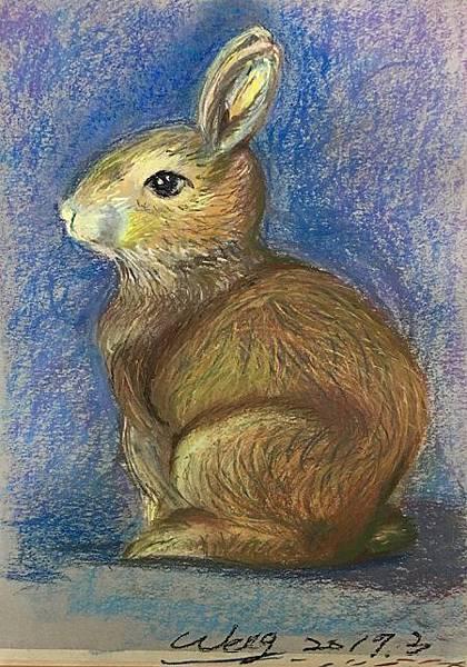 粉彩-情境小兔-13