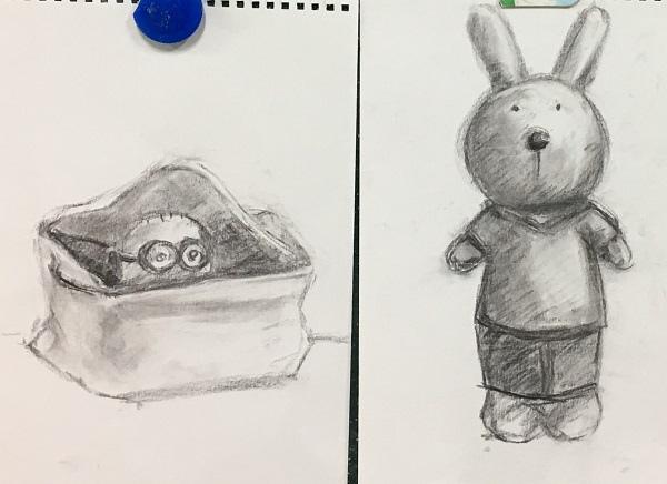 鉛筆素描教學~小小兵與帥帥兔-2
