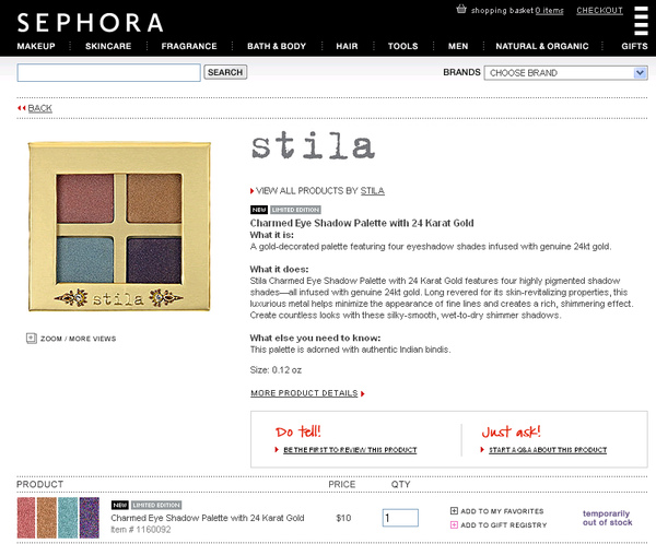 stila charmed palette at sephora