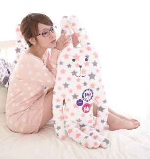 彩色星星小兔長抱枕