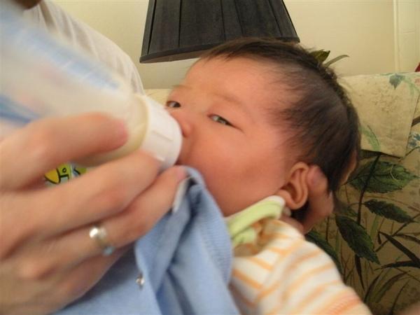 就說我洗澡時會忘記飢餓吧...一洗完我就餓了...爸爸就馬上餵我了...