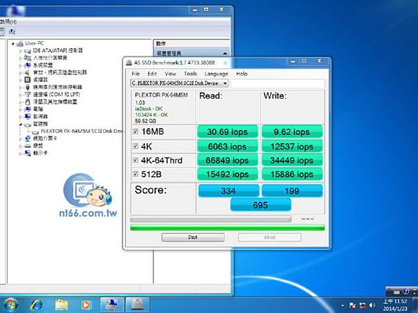 AS SSD Benchmark 內建MSATA iops
