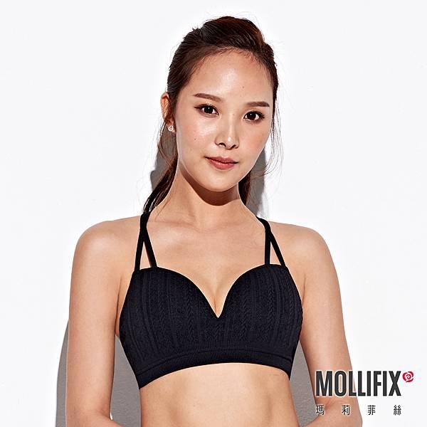 2-1MOLLIFIX 瑪莉菲絲 A++ 交錯雙肩帶美胸BRA _(黑).jfif