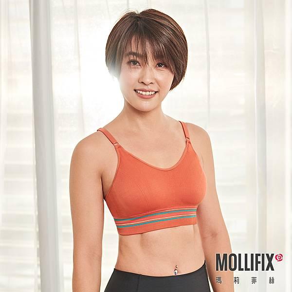 5-1MOLLIFIX 玩色V型時尚無鋼圈BRA T內衣_(棕橘).jfif