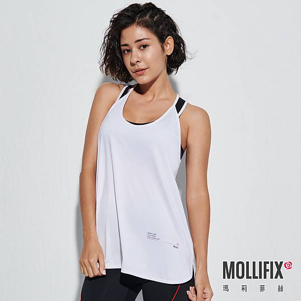 7-1 MOLLIFIX 瑪莉菲絲 雙肩帶圓弧下擺運動背心_(白).jfif