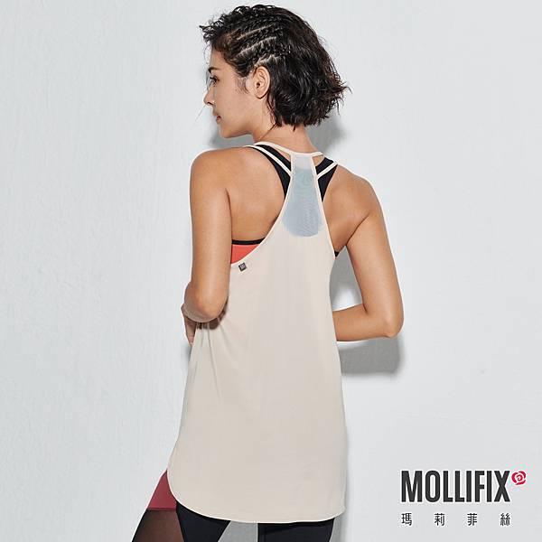 8-2 MOLLIFIX 瑪莉菲絲 雙肩帶圓弧下擺運動背心_(淺卡其).jfif