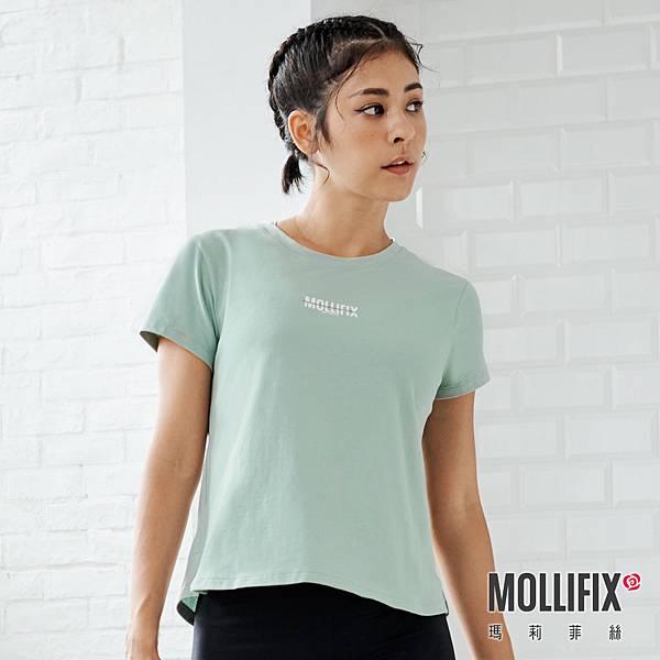 11-1 MOLLIFIX 瑪莉菲絲 簡約造型短袖上衣_(綠).jfif