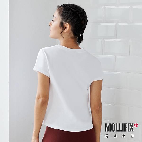 10-2 MOLLIFIX 瑪莉菲絲 簡約造型短袖上衣_(白).jfif