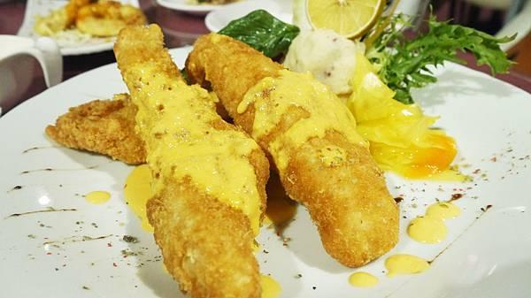 佛利達炸魚排佐海膽奶油醬(皇家豪華套餐)